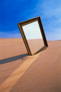 Mirror in desert